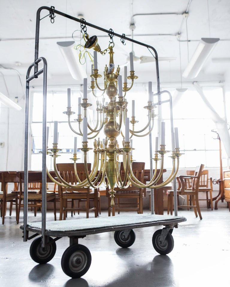 Polished Three-Tier Solid Brass Astrid 24 Chandelier by Remains Lighting, Burnished Brass For Sale