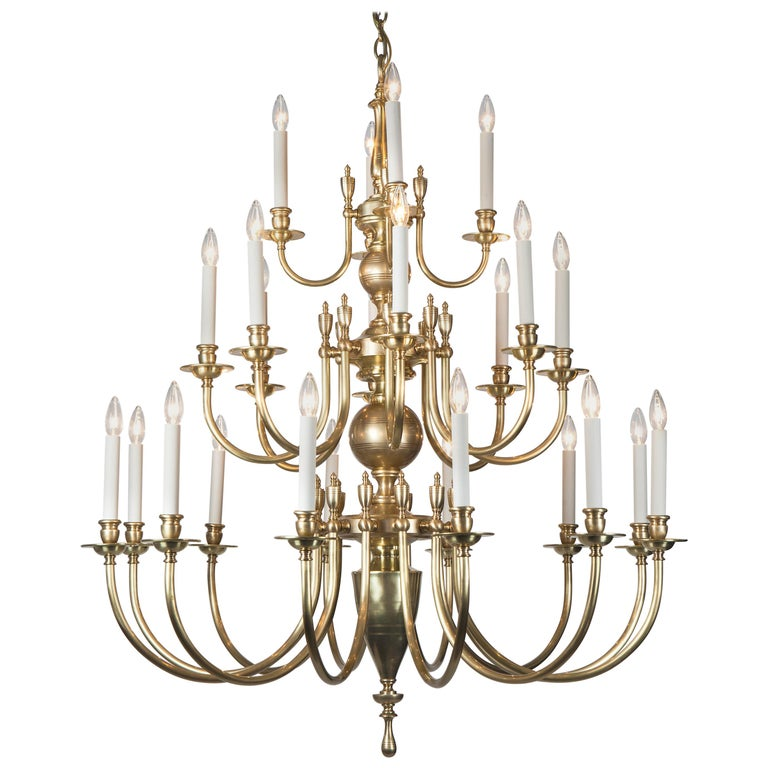 Three-Tier Solid Brass Astrid 24 Chandelier by Remains Lighting, Burnished Brass For Sale