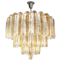 Three-Tier Venini Clear and Amber Glass Chandelier