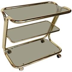 Three-Tiered 1970s Brass Bar Cart with Smoked Glass Shelves