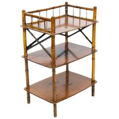 Three-Tiered Bamboo Display Shelf