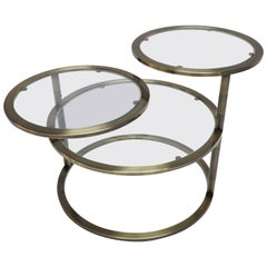 Three-Tiered Brass Coffee / Side Table with Adjustable Round Glass Shelves