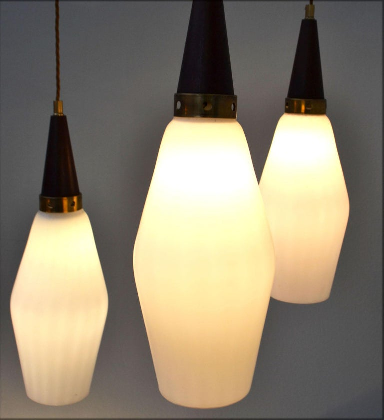 Turned Three-Tiered Danish 1950's Chandelier Glass & Teak For Sale