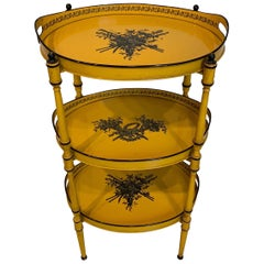 Three-Tiered Italian Yellow Tole and Stenciled Tray Stand