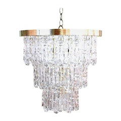 Three-Tiered Lucite Icicle Chandelier