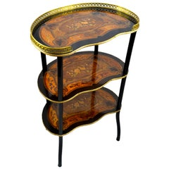 Three-Tiered Napoleon III French Marquetry Kidney shaped Desert Table
