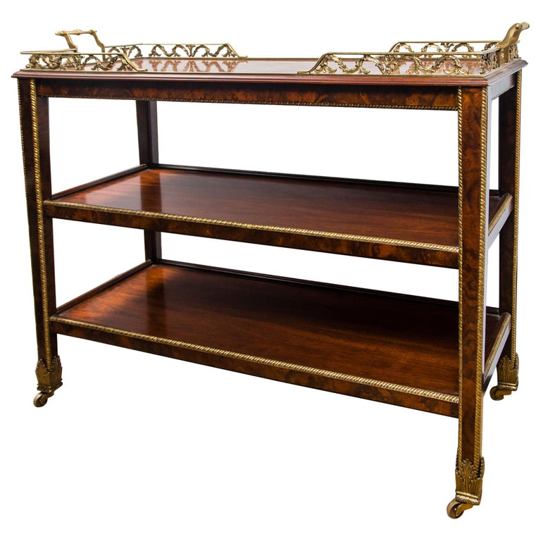 Three-Tiered Serving Trolley on Casters For Sale