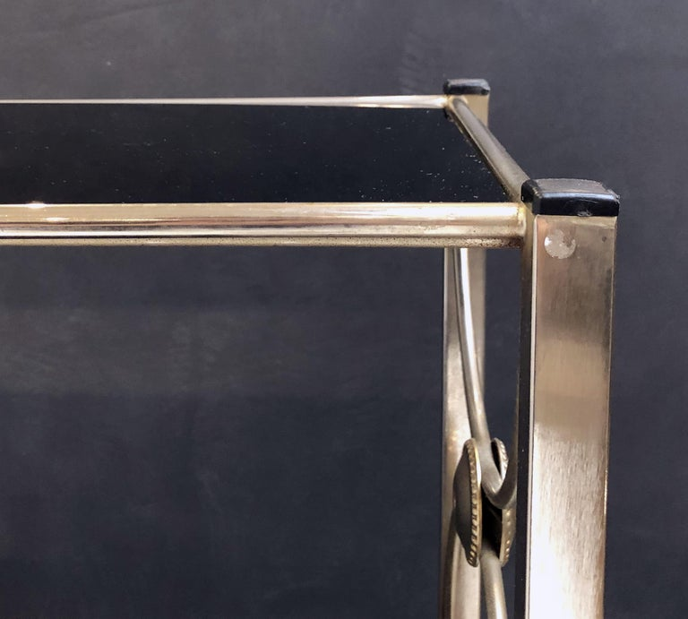 Three-Tiered Shelves or Étagère of Metal and Black Glass For Sale 5