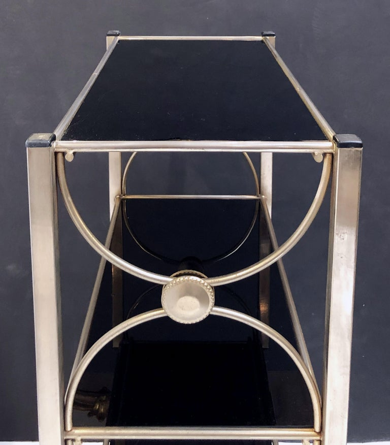 Three-Tiered Shelves or Étagère of Metal and Black Glass For Sale 6