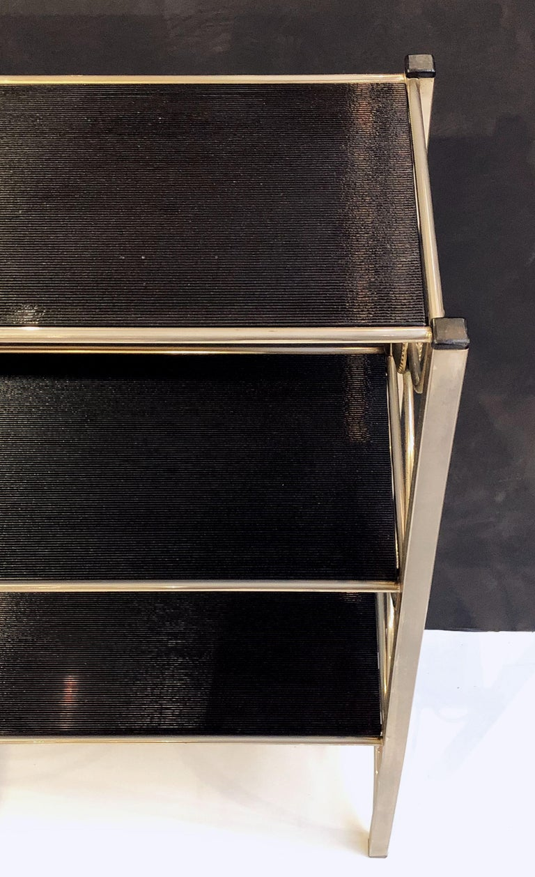 Three-Tiered Shelves or Étagère of Metal and Black Glass For Sale 7