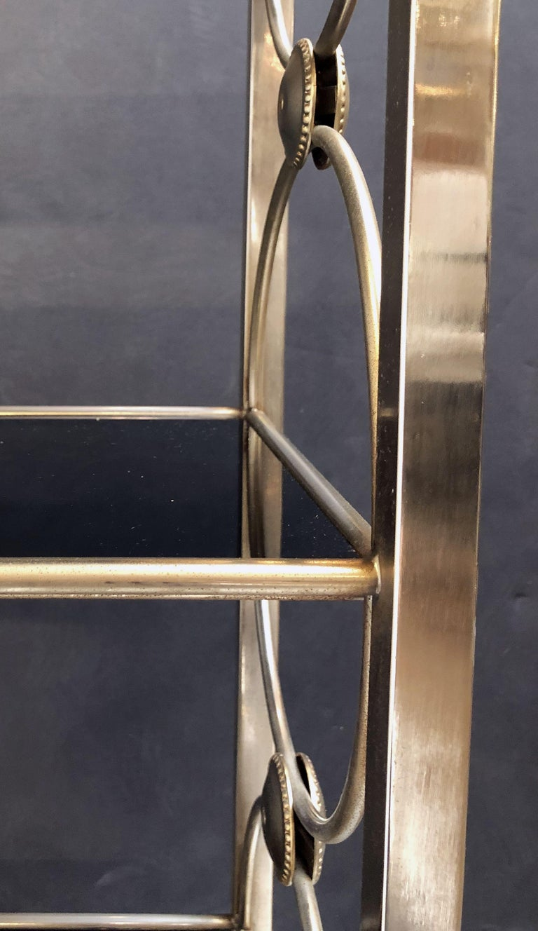 Three-Tiered Shelves or Étagère of Metal and Black Glass For Sale 9