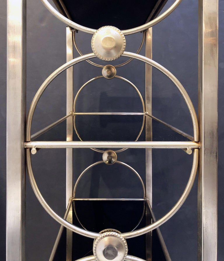 Three-Tiered Shelves or Étagère of Metal and Black Glass For Sale 10