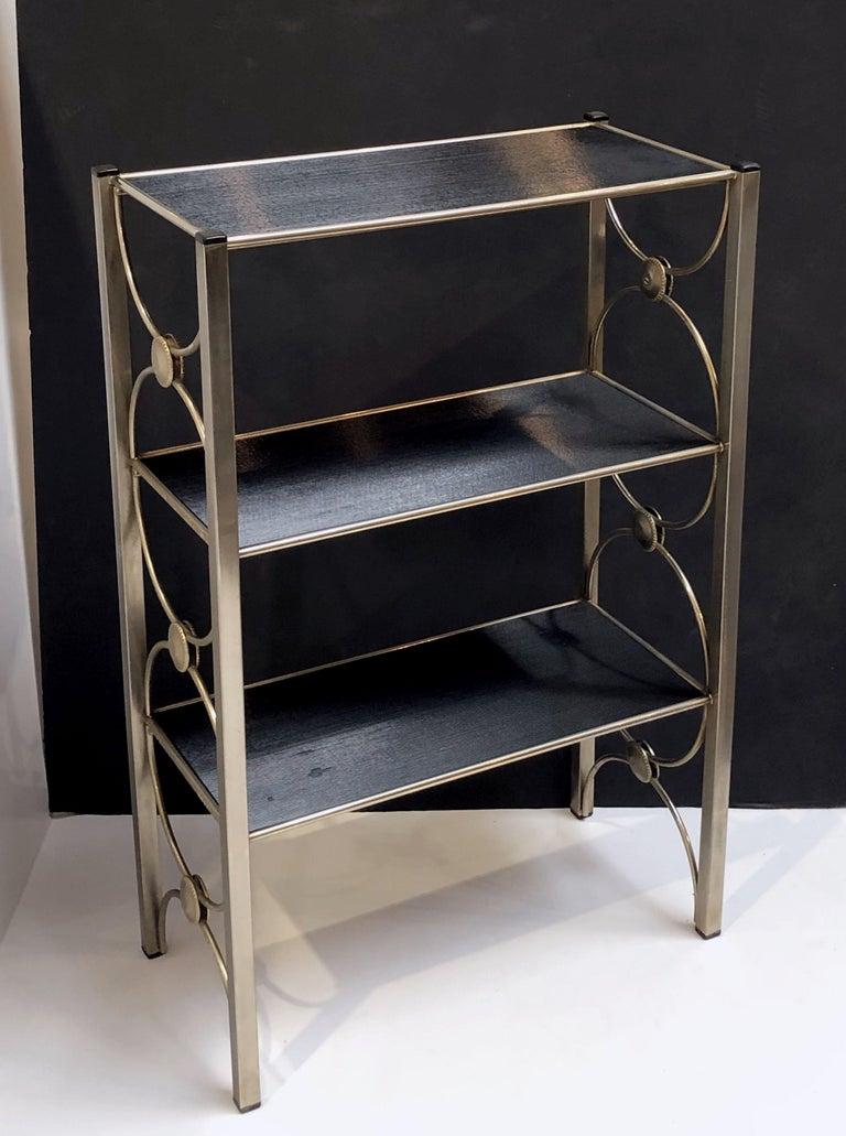 Three-Tiered Shelves or Étagère of Metal and Black Glass For Sale 11