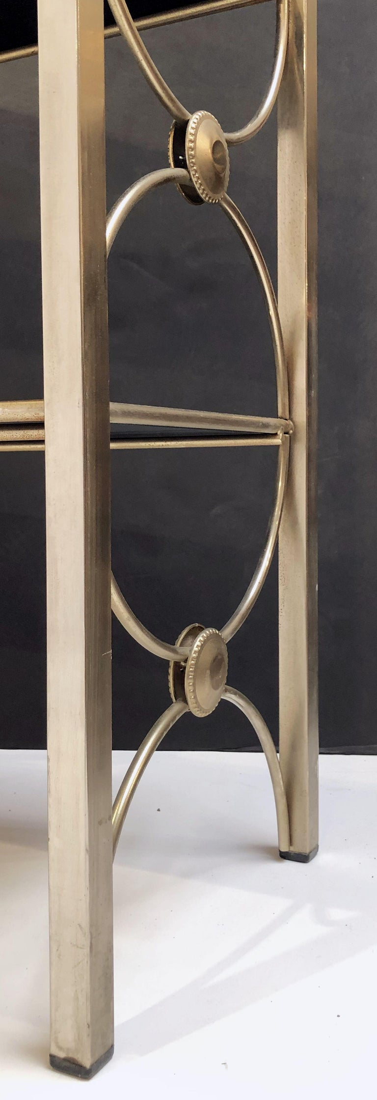 Three-Tiered Shelves or Étagère of Metal and Black Glass For Sale 12