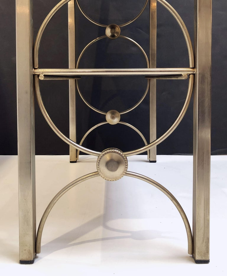 Three-Tiered Shelves or Étagère of Metal and Black Glass For Sale 13