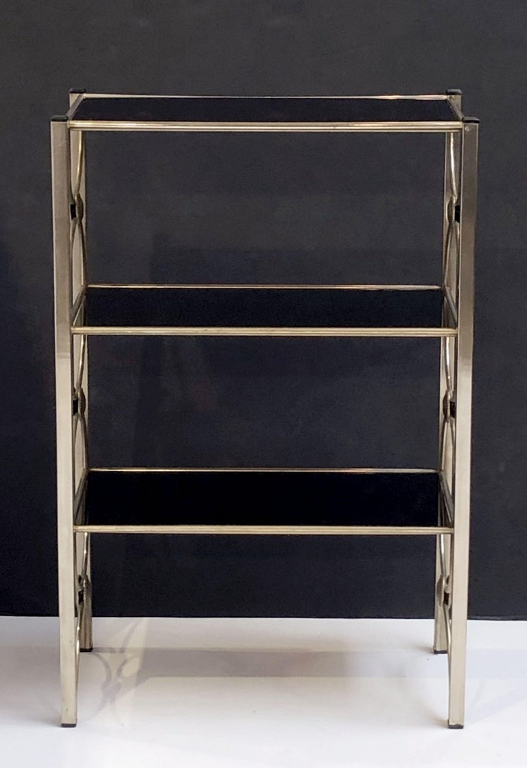 Brushed Three-Tiered Shelves or Étagère of Metal and Black Glass For Sale