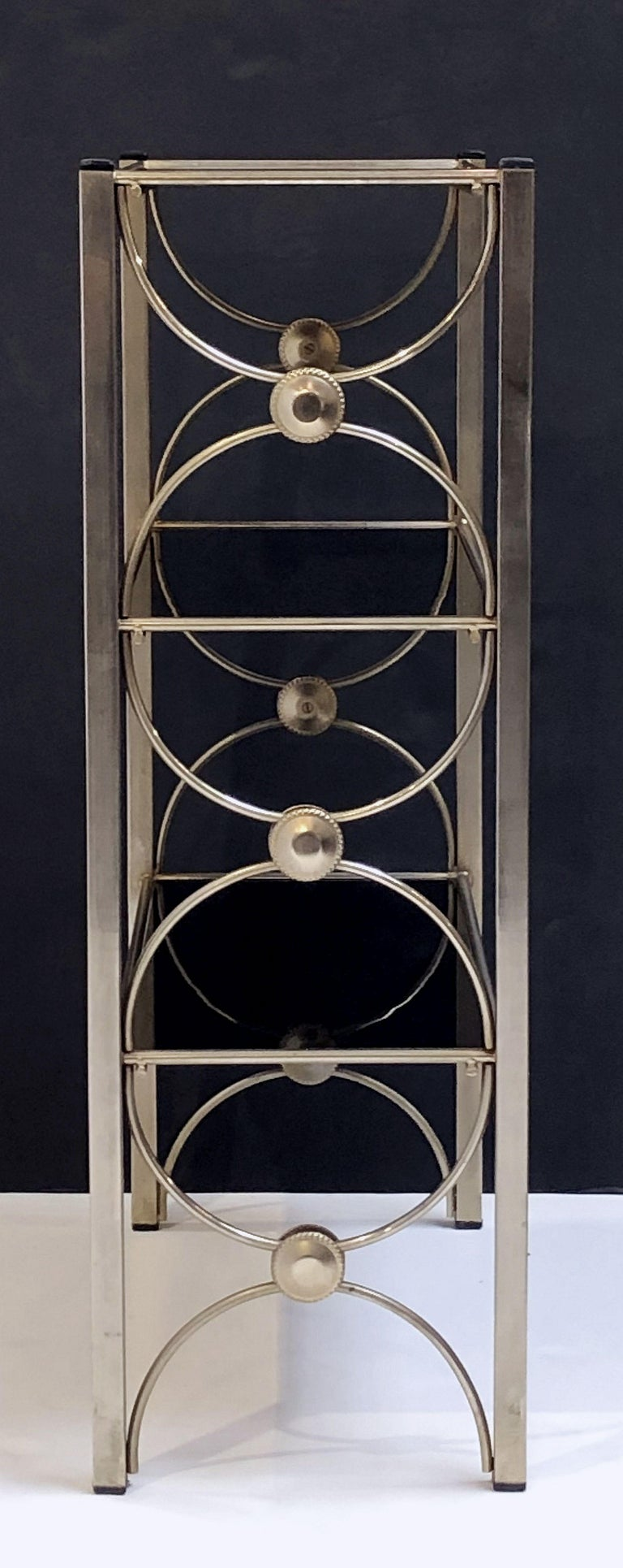 Three-Tiered Shelves or Étagère of Metal and Black Glass In Good Condition For Sale In Austin, TX