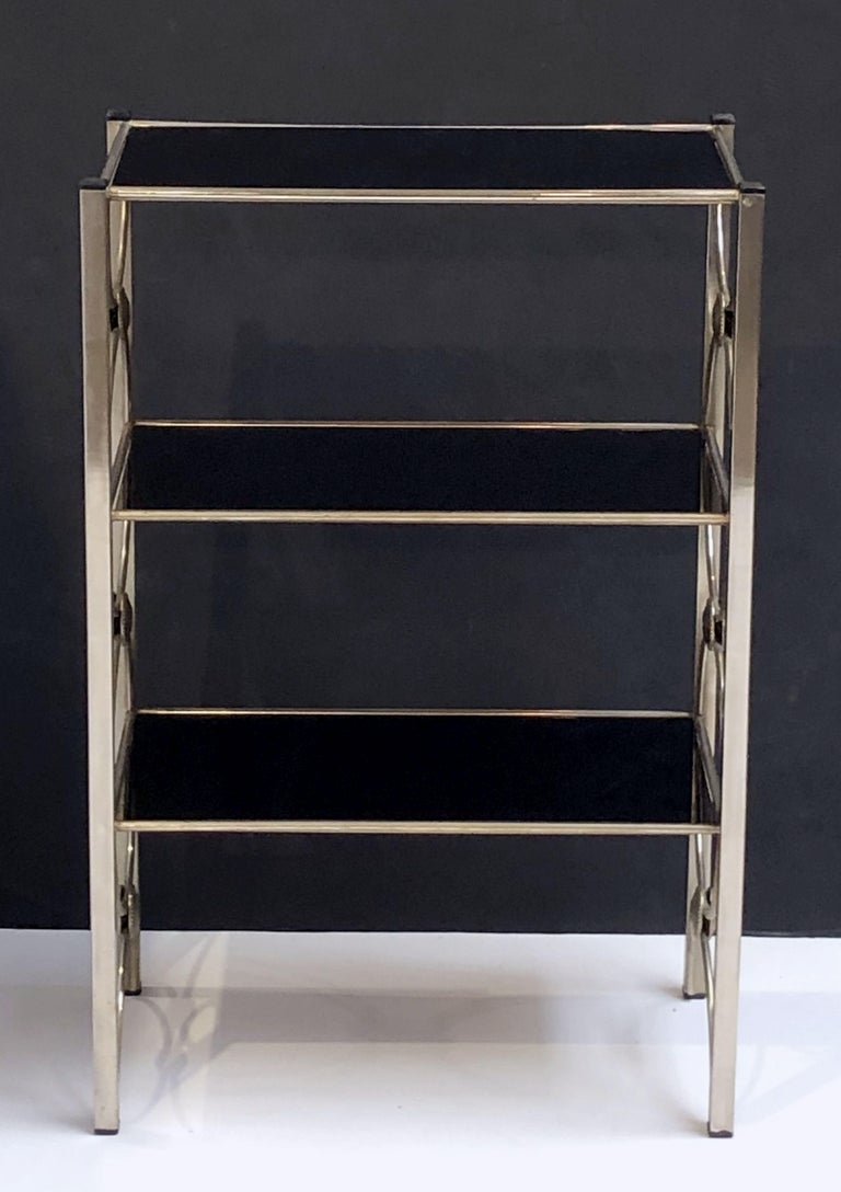 20th Century Three-Tiered Shelves or Étagère of Metal and Black Glass For Sale