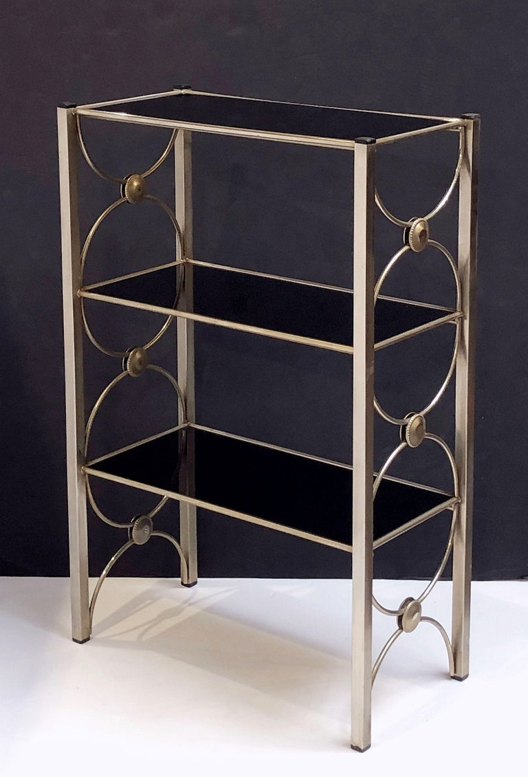 Three-Tiered Shelves or Étagère of Metal and Black Glass For Sale 2