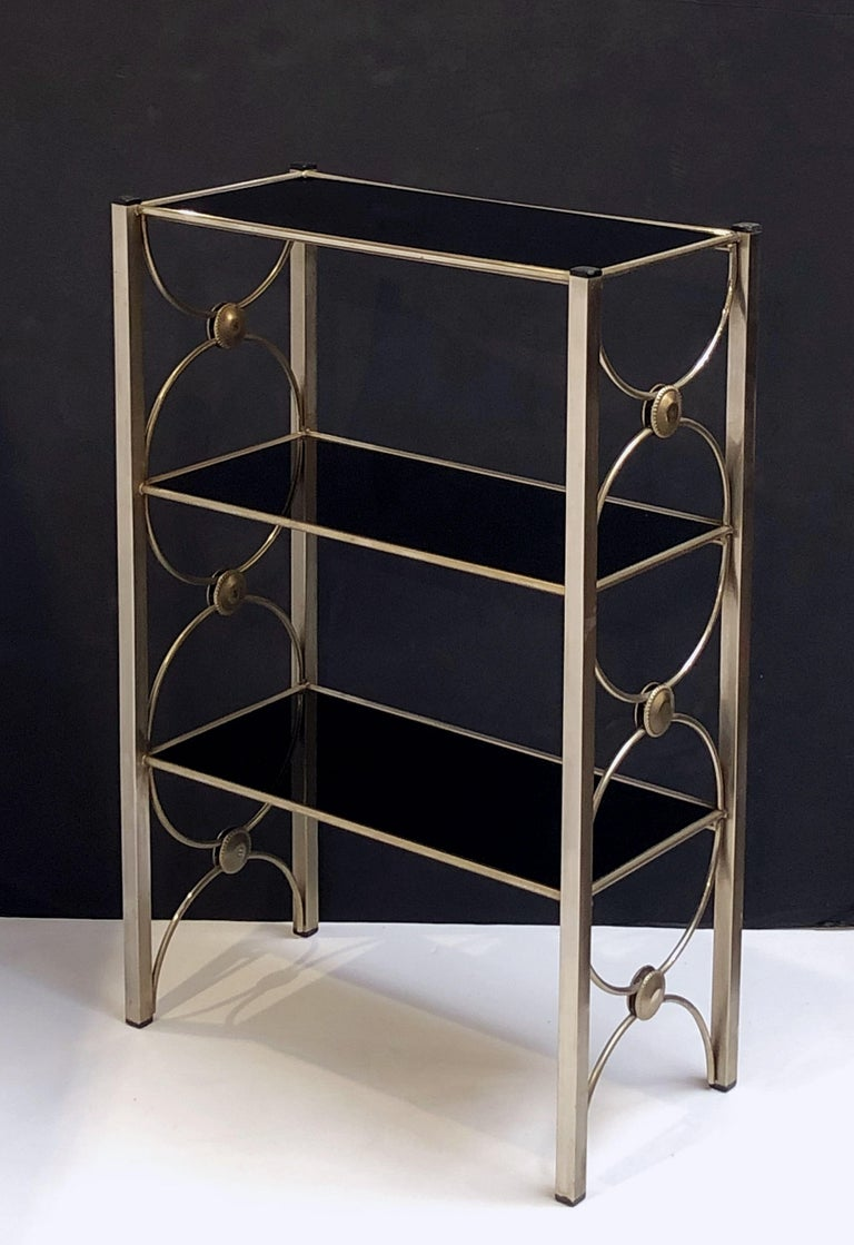 Three-Tiered Shelves or Étagère of Metal and Black Glass For Sale 3