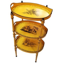 Three Tiered Yellow and Black Tole Tray Stand, Italy, 1960s