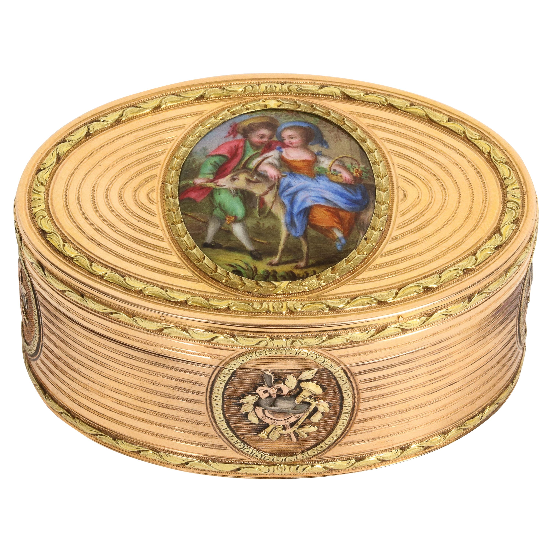 Three-Tone Gold Oval Enamel Snuff Box