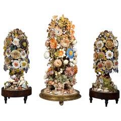 Three Victorian Shellwork Flower Arrangements