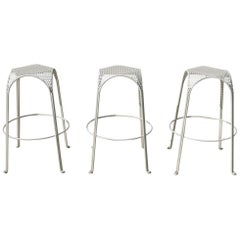 Three Vintage Bar Stools in the Manner of Mathieu Matégot