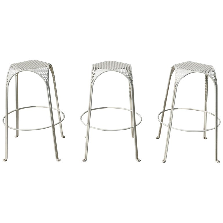 Three Vintage Bar Stools in the Manner of Mathieu Matégot For Sale