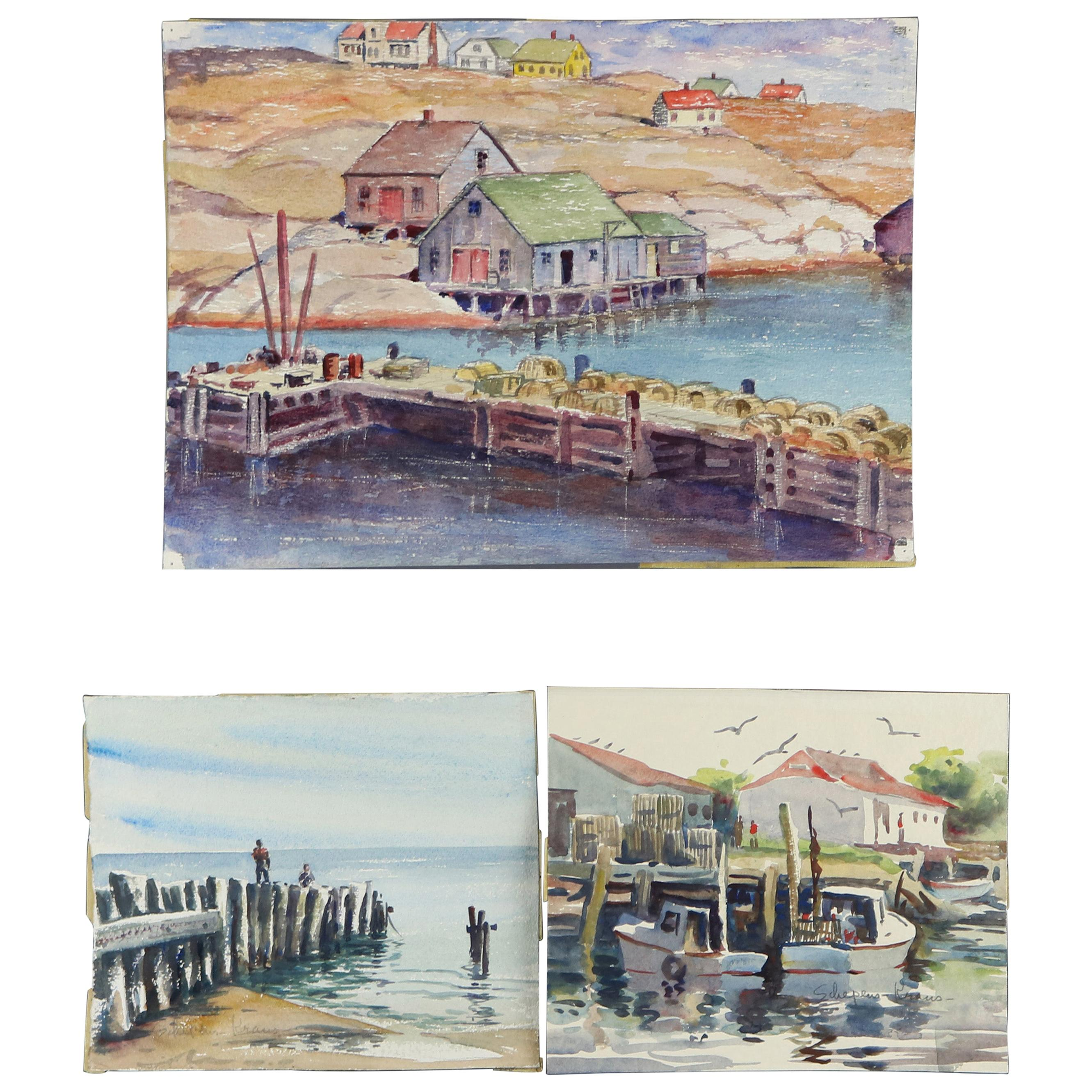 Three Vintage Harbor Shore Scene Watercolor on Paper, Two Signed Kraus