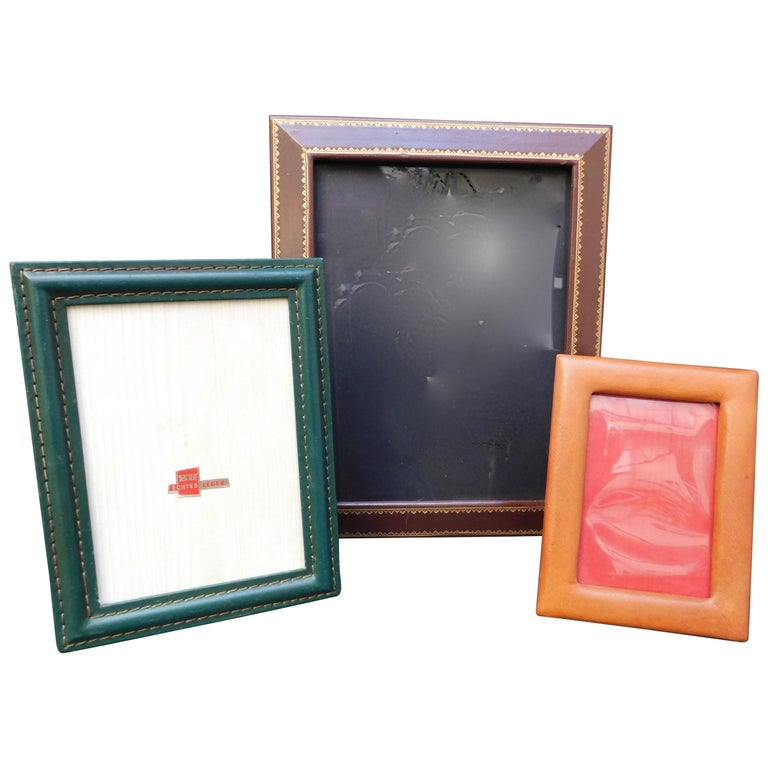 Three Vintage Leather Photo Frames For Sale