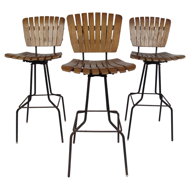 Three Vintage Modern Arthur Umanoff Style Swivel Bar Stools