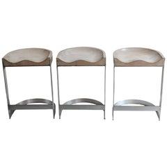Three Vintage White Oak and Brushed Aluminum Saddle Barstools by Warren Bacon