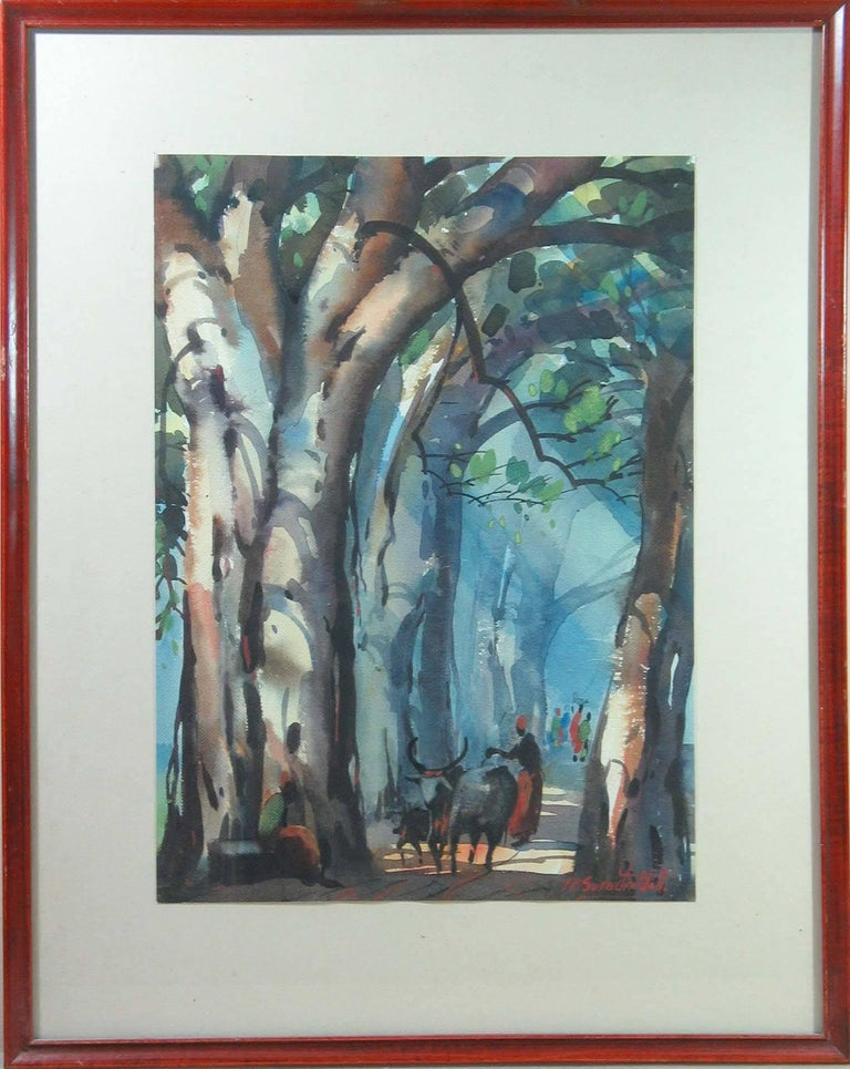 Other Three Watercolors Scenes Life in India by B.P. Surendranath, 20th Century