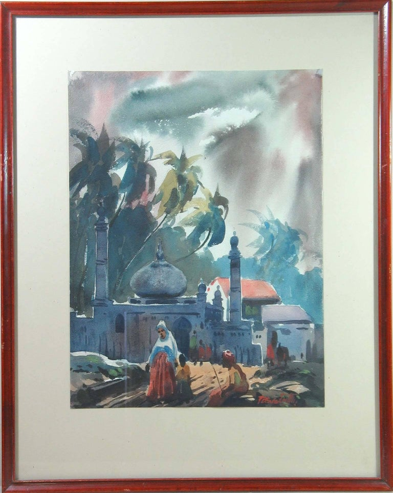 Three Watercolors Scenes Life in India by B.P. Surendranath, 20th Century In Excellent Condition In Ottawa, Ontario