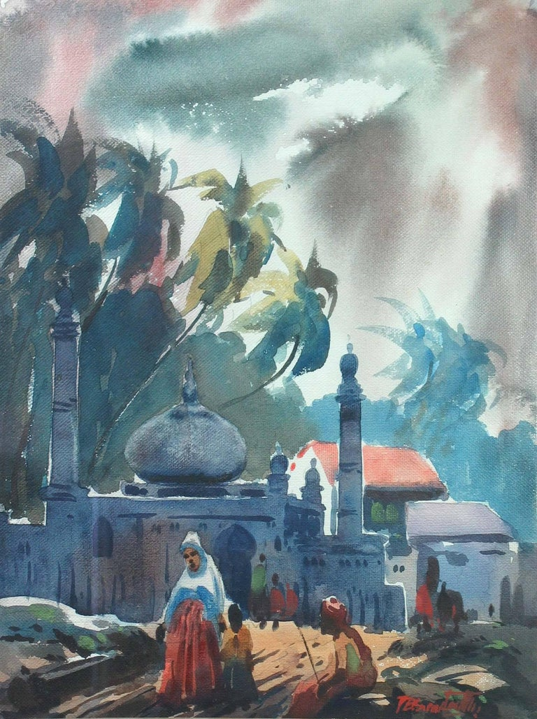 Paint Three Watercolors Scenes Life in India by B.P. Surendranath, 20th Century