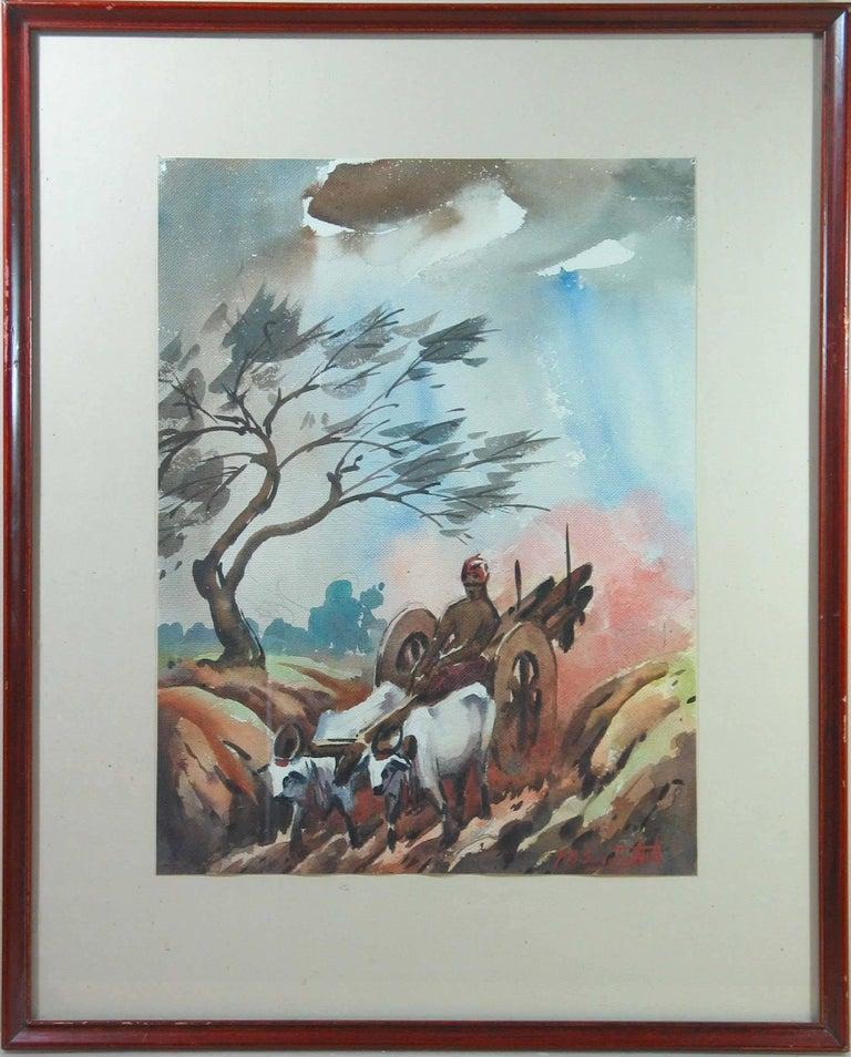 Three Watercolors Scenes Life in India by B.P. Surendranath, 20th Century 1
