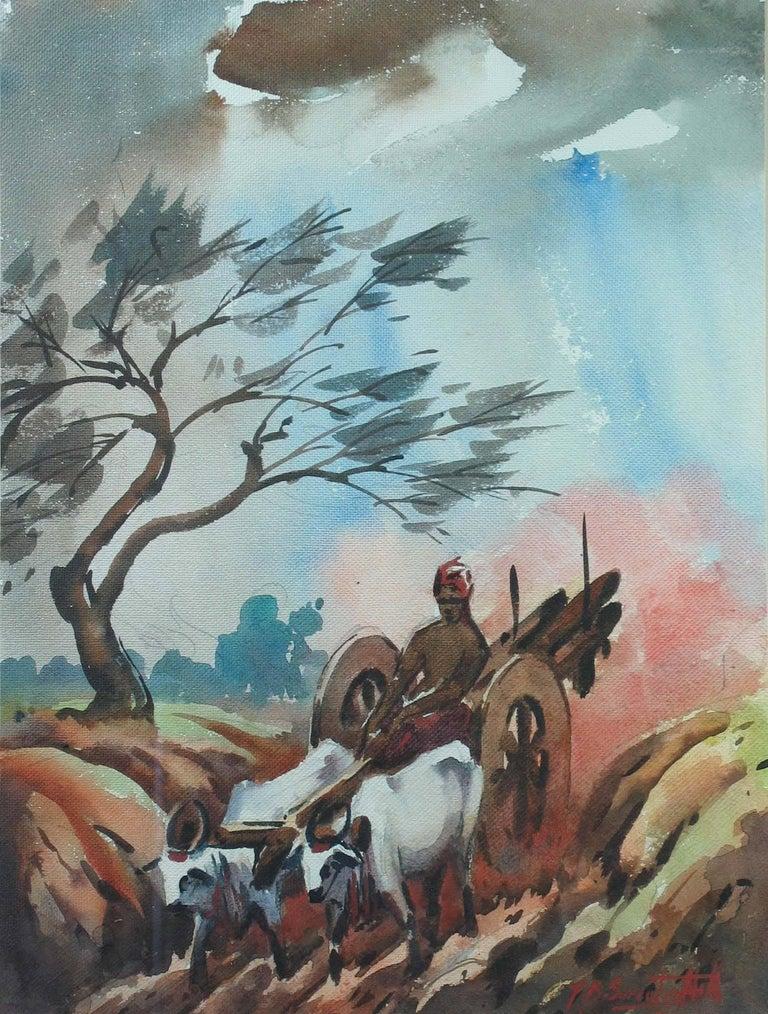Three Watercolors Scenes Life in India by B.P. Surendranath, 20th Century 2