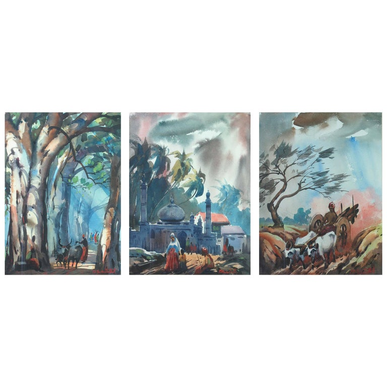 Three Watercolors Scenes Life in India by B.P. Surendranath, 20th Century
