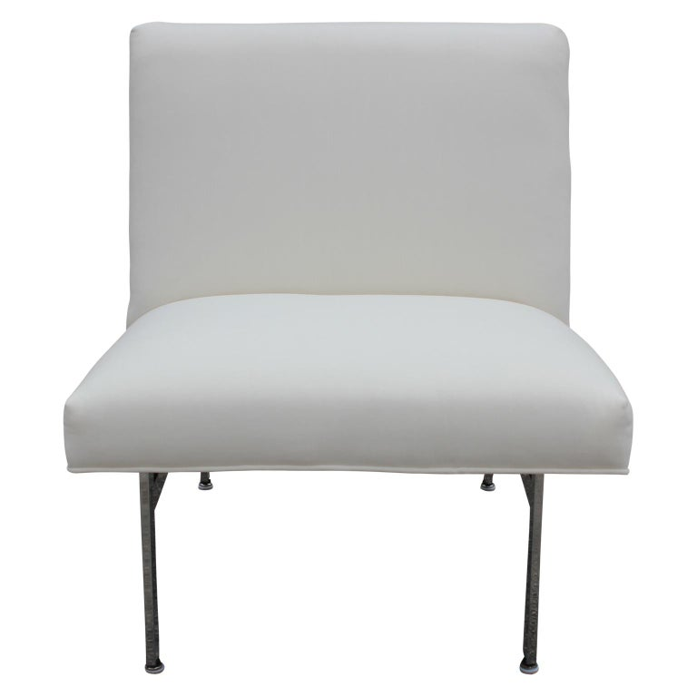 Set of Three Parallel Bar White Velvet with Chrome Feet Chairs Designed by Knoll In Excellent Condition For Sale In Houston, TX