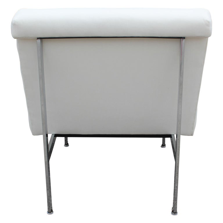 Mid-20th Century Set of Three Parallel Bar White Velvet with Chrome Feet Chairs Designed by Knoll For Sale