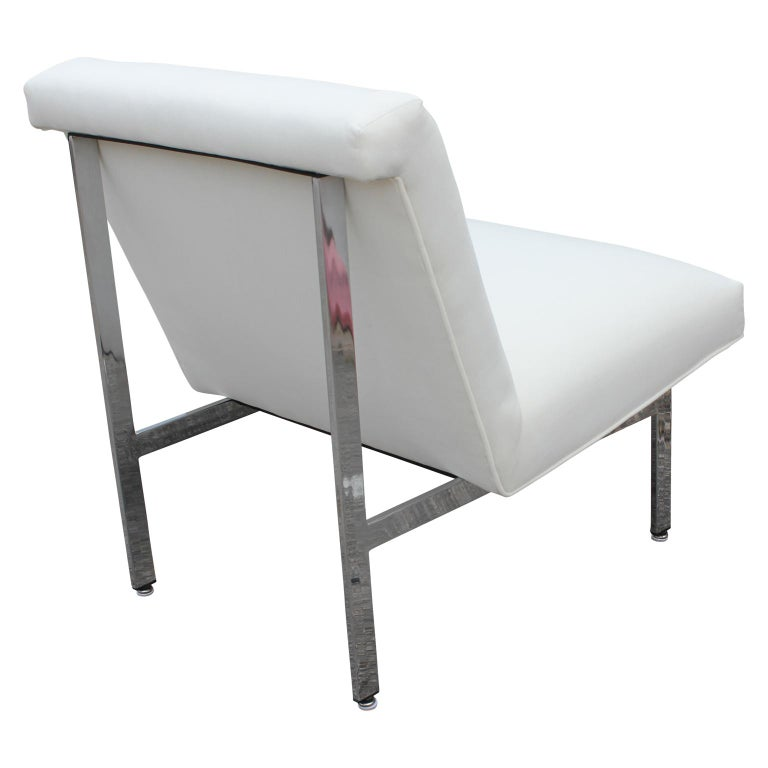 Set of Three Parallel Bar White Velvet with Chrome Feet Chairs Designed by Knoll For Sale 1