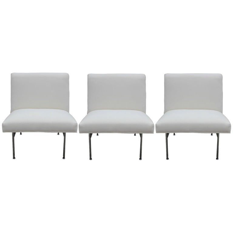 Set of Three Parallel Bar White Velvet with Chrome Feet Chairs Designed by Knoll For Sale