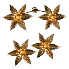 Three Willy Daro Style Brass Flowers Ceiling or Wall Lights