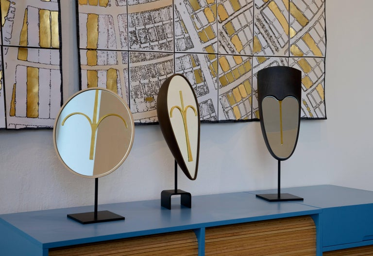 Three Wise Mirrors, Minimalist Ethnic Sculptures Inspired by African Masks For Sale 4