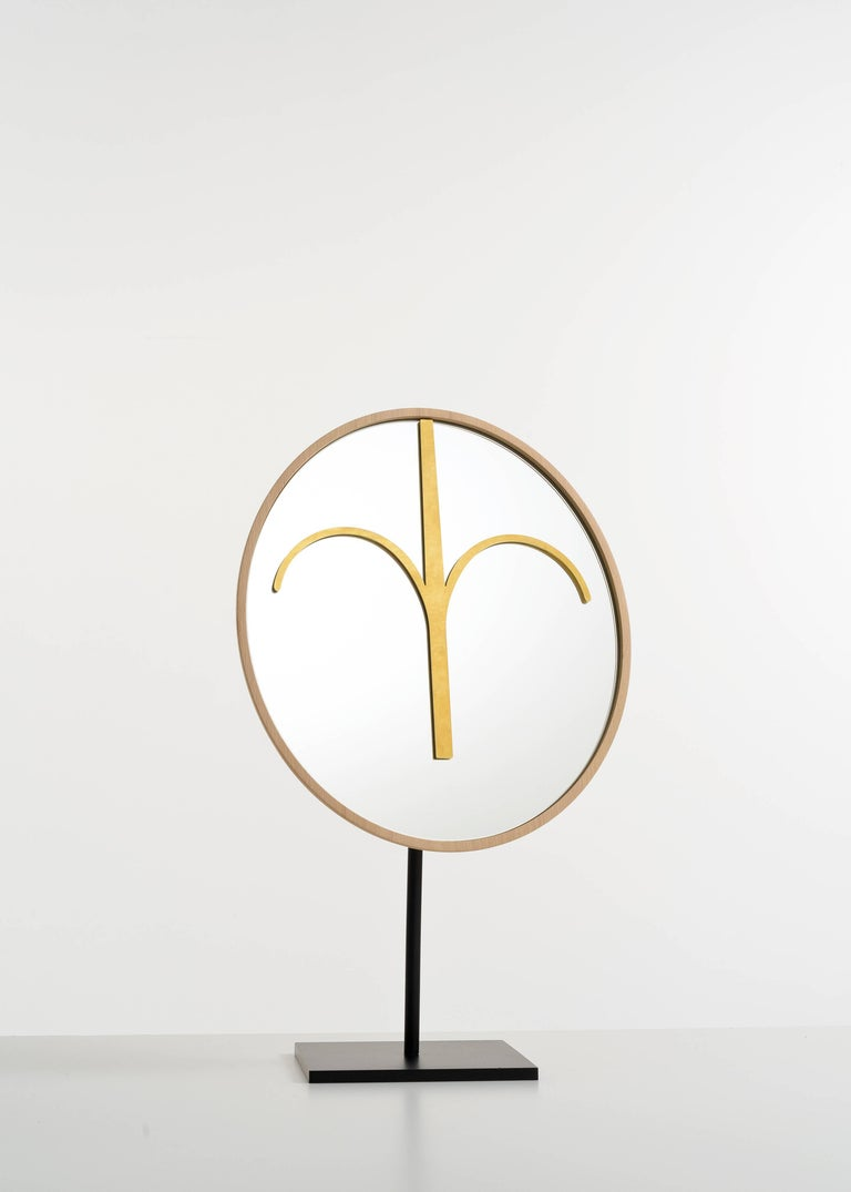 Italian Three Wise Mirrors, Minimalist Ethnic Sculptures Inspired by African Masks For Sale