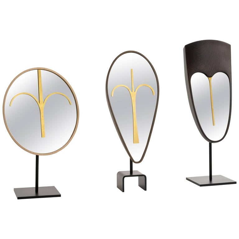 Three Wise Mirrors, Minimalist Ethnic Sculptures Inspired by African Masks For Sale