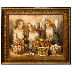 Three Women Farmers Oil on Board Painting, Signed by Bunuel and Framed