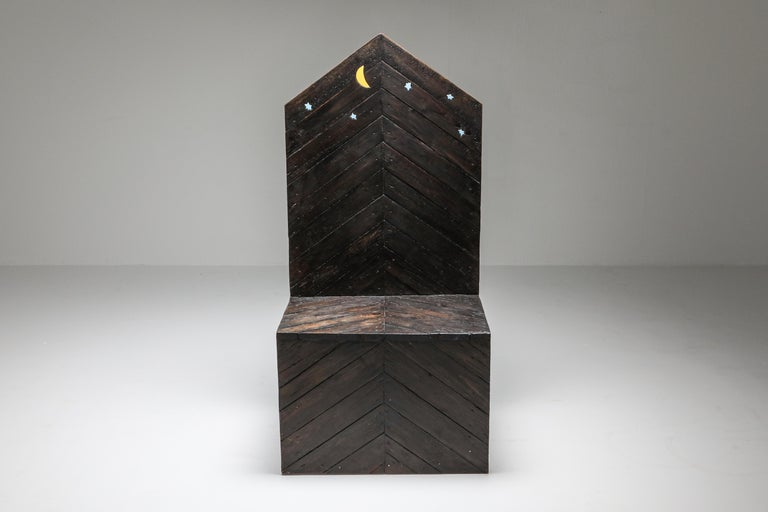 Unusual and one-of-a-kind Throne chair, Sandro Lorenzini, Italy 1980s Solid wooden panels with ceramic stars and moon inserts. Copper side panels. A fantastic piece made in Italy in the early 1980s Measures: W 68 cm, D 54 cm, H 142 cm.