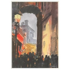 """""""Through the Archway,"""" Atmospheric Watercolor Scene in Gray and Red by Storck"""